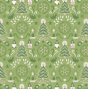Lewis & Irene - Hygge Christmas - 5981 - Elves & Winter Motifs on Green - C28.2 - Cotton Fabric